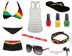 SUMMER SERIES GIRLS 1 of  5 [RASTA COLORS]  - ROXY RASTA BIKINI  - ROXY RASTA SHORTS  - FULL TILT POCKET TANK  - VANESSA CROSS BRIDGE SUNGLASSES  - COBIAN RASTA SANDALS  - RASTA BRACELET  - OPI RED, YELLOW, & GREEN NAIL POLISH