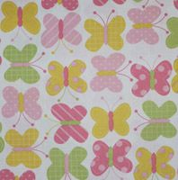 ¾ yds left enter .75 to order this fabric This sweet print features pink, green and yellow butterflies on a white woven cotton background.  It is perfect for dresses, skirts, play clothes, baby layette sets and more.   by Robert Kaufman Fabrics