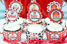 Barnyard Birthday Party Cupcake Kit 2 Inch by KellysCottageShoppe, $3.50