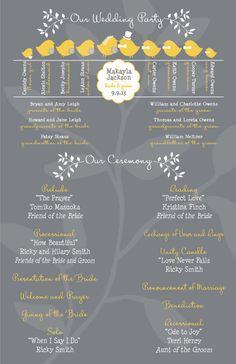 Wedding Programs - Love Bird Ceremony Programs - Wedding Party Silhouette - Gray and Yellow - Custom Programs on Etsy, $1.16 CAD