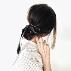 updo ideas: the ribbon bow ponytail via Finding Beautiful Truth