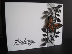 Monarch on Mesh. I made this card for Clean and Simple's challenge156 and Simply Less is More's challenge31...a sketch for one, metal for the other. Used some metal mesh from Making Memories, a butterfly punch from Martha Stewart and a leaf die from Sizzix. The sentiment is Papertrey Ink. Thanks for looking, you can find me on my blog: http://iminhaven.blogspot.com/   Read more: http://www.splitcoaststampers.com/gallery/photo/2046040#ixzz32qkOPQps