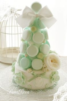 Pale green macaron tower