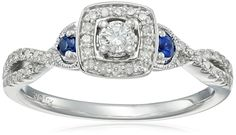 10k White Gold Diamond and Sapphire Ring (1/4cttw, I-J Color, I2-I3 Clarity), Size 7 >>> Read more  at the image link.