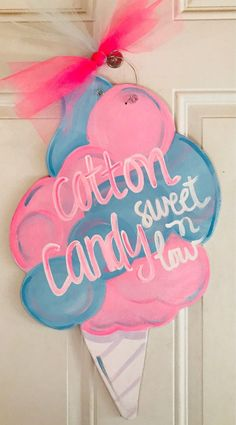 Cotton candy sweet and low sign/door hanger, perfect addition to any summer blast or get together. Or personalize for your little girls room or den! Candy Theme Birthday Party, Candy Land Theme, Birthday Party Decorations, Candy Land Decorations, Candy Centerpieces, 3rd Birthday, Cotton Candy Party, Candy Room, Candy Signs