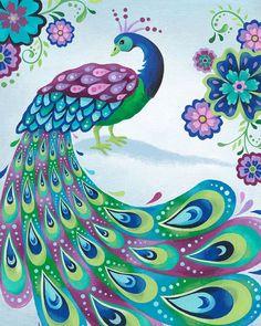 Impresión del arte del pavo real 8 X 10 por pictorialboom en Etsy
