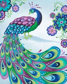 Peacock Art Print 8 X 10 by pictorialboom on Etsy