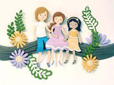 We're swooning over this beautiful custom sibling paper-cut portrait by Purple Paper People. Mothers Day Decor, Mothers Day Crafts, Cut Paper Illustration, Mother's Day Cookies, Paper People, Best Mom, Mother's Day Diy, Mother Day Gifts, Unique Gifts