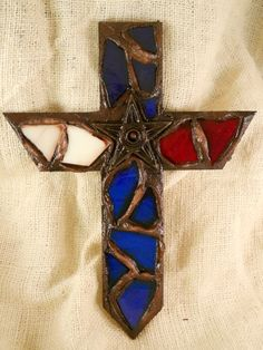 @Mary Grothaus isn't this beautiful!!!  Red White Blue Texas Star Mosaic Cross Wall Art by AnArtPeace, $30.00 Mosaic Crosses, Wall Crosses, Mosaic Tiles, Mosaics, Cross Wall Art, Old Rugged Cross, Texas Star, Tile Projects, Red White Blue