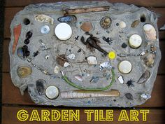 Do you take your art projects outside? We made this mosaic / collage garden tile art using recycled junk and natural materials with our School Gardening Club. The children loved the process of selecting treasures to add to their own tile and seeing their creations displayed in our outdoor gallery.
