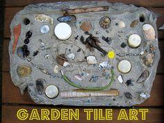 Recycled garden tile art