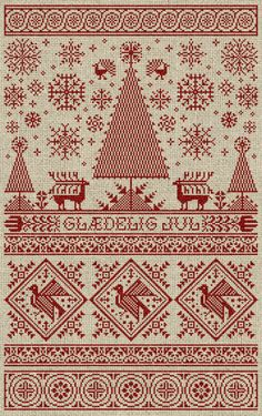 Scandinavian Christmas Sampler - Instant Download PDF Cross Stitch Embroidery…