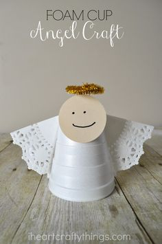 Kids will love turning a foam cup into a simple and cute Christmas angel craft. Kids will love turning a foam cup into a simple and cute Christmas angel craft. Christmas Angel Crafts, Preschool Christmas, Christmas Activities, Preschool Crafts, Kids Christmas, Holiday Crafts, Christmas Bible, Craft Kids, Kids Diy