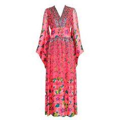 1970\'s Pauline Trigere Silk Printed Single Shoulder Gown w ...