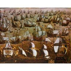 English Ships and the Spanish Armada 1588 English School (16th Century) Canvas Art - (18 x 24)