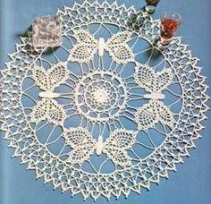 Free Crochet Patterns Table Center of Flowers and Butterflies