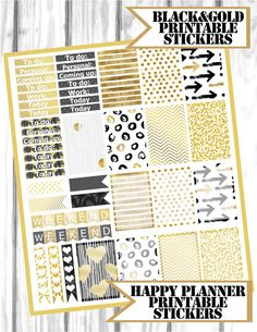 Black and Gold printable stickers Happy Planner Stickers Kit (MAMBI)