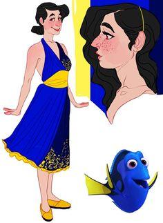 Dory (Finding Nemo) by CrazyTom Disney Pixar, Arte Disney, Disney Fan Art, Disney And Dreamworks, Disney Animation, Disney Movies, Disney Magic, Cartoon As Anime, Cartoon Art