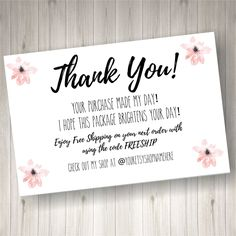 PRINTED Thank you Cards for Small Business 60 count Pink Daisy Thank You Card by HeathersHello on Etsy Small Business Quotes, Small Business Cards, Business Stickers, Business Ideas, Print Thank You Cards, Thank You Stickers, Business Thank You Notes, Coffee Words, Dance Crafts