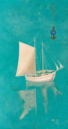 Spyros vasiliou-Boat with talisman, 1983 Artist Painting, Artist Art, Modern Art, Contemporary Art, Greece Painting, Hellenistic Period, Greek Art, Classical Art, Ship Art