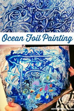 Visual Arts/Creative-Ocean Foil Painting for toddlers and preschoolers. Tape a piece of tinfoil onto a cardboard poster board. Paint, glitter and add ocean stickers. My boys were so proud of their finished ocean! Letter O Crafts. Preschool Art, Toddler Preschool, Toddler Crafts, Toddler Activities, Water Theme Preschool, Preschool Beach Crafts, Preschool Painting, Water Animals Preschool, Preschool Pirate Theme