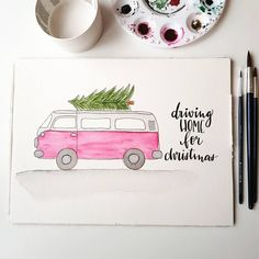Watercolor christmas tree van illustration