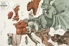 Son diversos los mapas de esa época, elaborados desde el punto de vista anglosajón, francés y prusiano, que presentan a Rusia como una gran amenaza para Europa: un pulpo de largos tentáculos; un oso dispuesto al ataque; un siniestro cosaco. La cartografía y la caricatura al servicio de la lucha entre los imperios modernos.