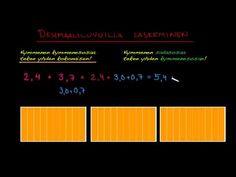 Desimaalilukujen yhteenlasku, osa 2.