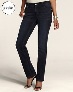 Chico's Petite So Slimming By Chico's Deep Indigo Slim-Leg Jean #chicos