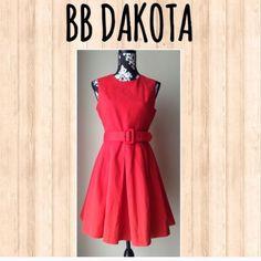 "❤️HOST PICK❤️ ModCloth BB Dakota red dress w/ belt Beautiful pleated red BB Dakota dress from Modcloth collection. Shoulder to hem 34.5"", Bust 18"" , Waist 15"" .. Detachable Belt, 100% cotton. It's so much more beautiful in person! ModCloth Dresses"