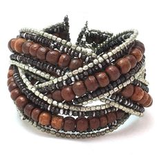 Multi-Row Wire & Wood Cuff Bracelet Silver Tone Mixed Metal Bangles Beaded Woven #Unbranded #Cuff