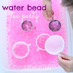 Imagination play with a water bead tea party will keep the kids entertained and pretending with fine motor and sensory fun! Sensory Rooms, Sensory Table, Sensory Bins, Sensory Play, Tea Party Activities, Sensory Activities, Activities For Kids, 10th Birthday Parties, Tea Party Birthday