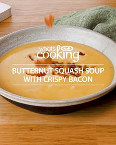 butternut squash soup Make the ultimate butternut squash soup with PHILADELPHIA cream cheese and crispy bacon. Your guests won't stop raving about this easy, delicious fall-perfec Fall Recipes, Soup Recipes, Vegetarian Recipes, Cooking Recipes, Christmas Recipes, What's Cooking, Vegan Butternut Squash Soup, Soup And Salad, Soups And Stews
