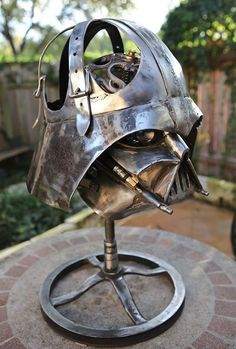 Darth Vader Mask Metal Lamp Sculpture