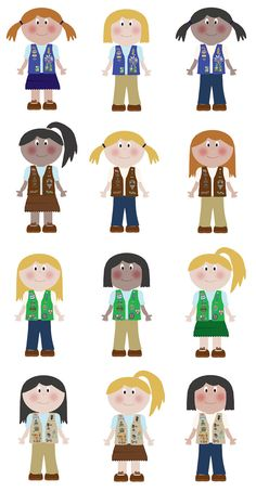 Girl Scout Clip Art - I printed these, write our troop number on the back of each image, laminated them, cut them out, put rings on the tops of them.  The girls will use pony beads and safety pins to complete these. Super cute and easy to do!