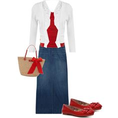 Casual Patriotic Charm - with my pencil skirt, minus the bag. Cute Modest Outfits, Classy Outfits, Skirt Outfits, Pretty Outfits, Cool Outfits, Casual Outfits, Fashion Outfits, Womens Fashion, Modesty Fashion