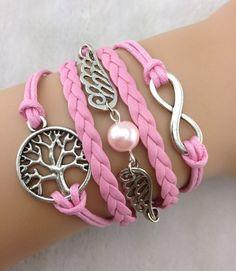 wish tree bracelet,weave bracelets,pink angel wing rope bracelets for girls,infinity bracelet,handmade jewelry,motto bracelet,unique gift