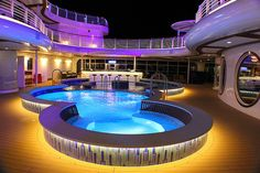 Quiet Cove pool at night Pool At Night, Disney Cruise, Jacuzzi, One And Only, Explore, Mansions, House Styles, Outdoor Decor, Evie