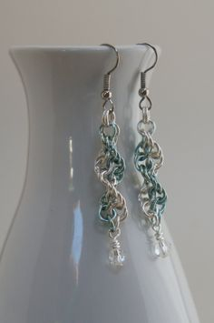 Icicle Chain Maille Spiral Earrings