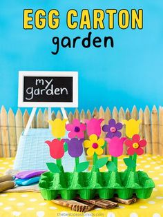 Egg Carton Craft for kids - such a fun egg carton craft making your own mini garden!