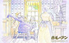 니폰-애니메이션이 제공한 빨강머리 앤과 뽕소매옷의 일러스트 월페이퍼