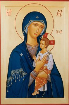 "Theotokos Hodegetria or ""Shower of the Way,"" or ""Leader."" The Child is held in vertical position."