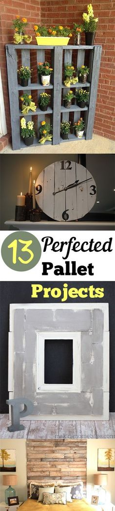 Pallet Furniture Projects 13 Perfected Pallet Projects - pallet plant stand on a porch - Great ways to turn old pallets into your home decor! Pallet Crafts, Diy Pallet Projects, Home Projects, Outdoor Projects, Crate Crafts, Cheap Home Decor, Diy Home Decor, Home Decoration, Decor Crafts