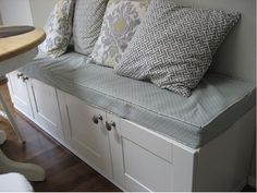 bench made out of IKEA cabinets.