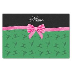 Personalized name green gymnastics pink bow tissue paper