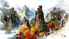 (North Korea) 귀면암 in Mt. Geumgang by Mun Jeong-ung ). Brush Watercolor, Watercolor Paintings, North Korea, Paint Colors, World, Rocks, Amazing, Asia, Kunst