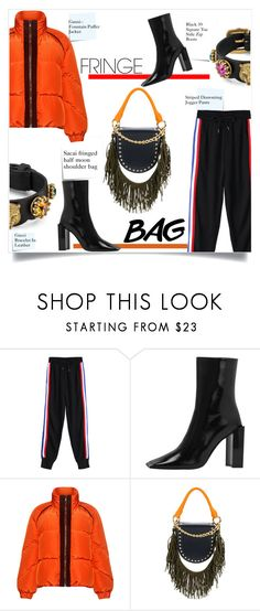 """""""Shimmy Shimmy: Fringe"""" by sofirose ❤ liked on Polyvore featuring Post-It, Ganni, Sacai, Gucci, fringe, Boots, bag and puffers"""