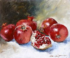 Pomegranate Art Print by Tanya Jansen. All prints are professionally printed, packaged, and shipped within 3 - 4 business days. Choose from multiple sizes and hundreds of frame and mat options. Pomegranate Art, Poster Prints, Framed Prints, Posters, Canvas Art, Canvas Prints, Simple Prints, Fruit Art, Beautiful Paintings