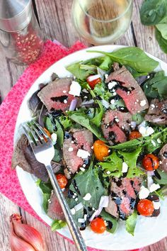 Steak Salad with Balsamic Dressing and Blue Cheese - ValSoCal