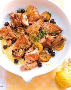 Zitronenhuhn mit Oliven und Thymian - Rezepte